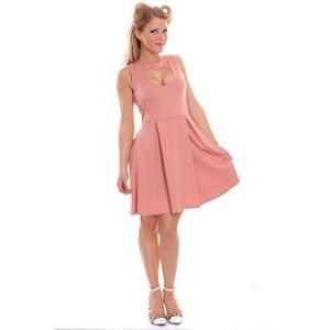 Dresses & Skirts - pink heart cut out dress size small 6 sexy retro